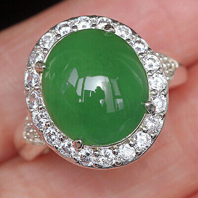 40.25Ct 100% Natural Grade A Green Oval Jadeite Ring Cab UCDZ44