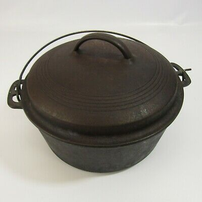 "Antique Cast Iron Wagner Ware Sidney O Dutch Oven Pot with Lid 10"" Round Vintage"