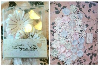 32 High Quality Big Pink White Paper Flowers Card Making Crafts Scrapbooking