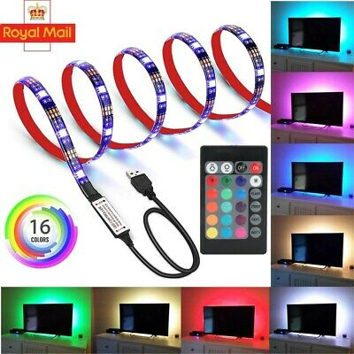 LED Strip Lights 1M-5M 5V 5050 RGB Dimmable USB TV Back Lighting+Remote Control