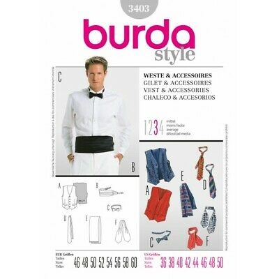 Burda Sewing Pattern 3403 Style Assorted Mens Vest Bow Tie Ascot Lining