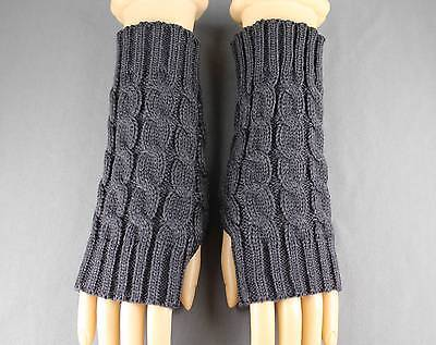 Dk Grey Gray cable knit arm warmer fingerless gloves warmers open thumb texting