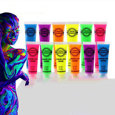 Fluorescent Glow Face Body Art Paint Makup Set Halloween Party Christmas Cosplay