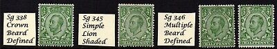 4 X M/Mint 1/2d's sg338=345=346 fine stamps with good shades see scan