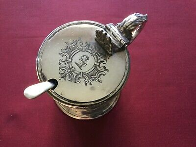 Large Victorian Silver Plated Mustard Pot with blue glass liner and a spoon