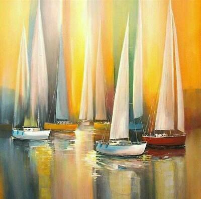 CHOP1240 abstract sail boat on sea  handmade painted oil painting art on canvas