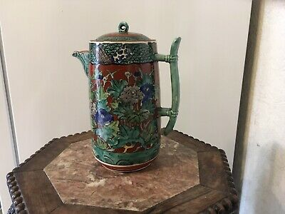 Antique Japanese Green Kutani Porcelain Lidded Coffee Pot Signed