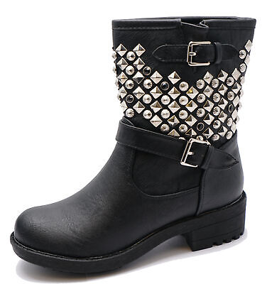 Ladies Flat Black Zip-Up Military Rock-Chick Biker Ankle Calf Boots Shoes Uk 3-8