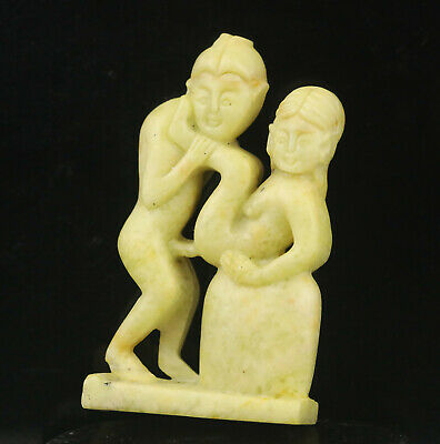 Old China natural jade hand-carved statue of man and woman