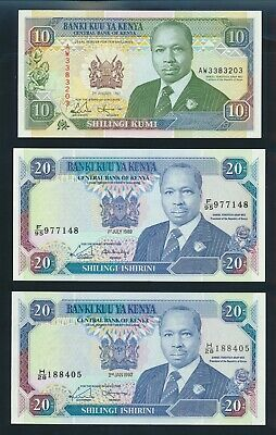 Kenya: 1-7-1989 & 2-1-1992 10 & 20 Shillings. Pick 24d, 25b & 25e UNC Cat $21