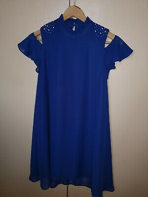 Girls bluezoo dress from Debenhams age 11 years cut out shoulder royal blue