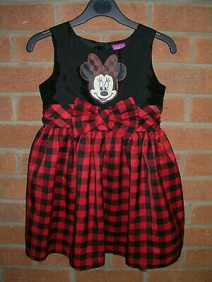 Disney MINNIE MOUSE Girls Black Red Checked Party Dress Age 5-6 116cm