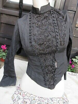 Antique Victorian ladies black beaded bodice 50 jet buttons beaded central panel