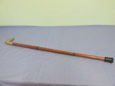 Vintage Wooden Walking Cane With Brass Horse Head Handle 4 Pieces