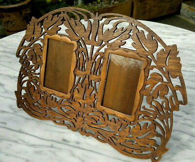 "Art Nouveau Solid Oak Carved Wooden Fretwork Double Photo Frame 14.25"" by 9.5"""