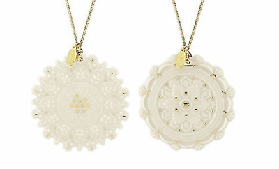 Lenox Heritage Home Decor Collection Snowflake 2-piece Ornament Set new for 2019