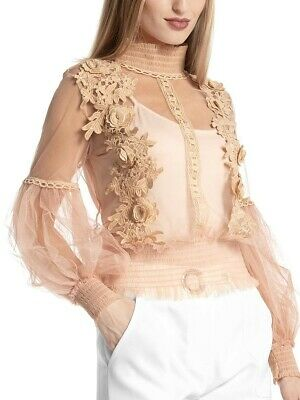 Gracia Blouse Nude Color with Embroidery Long Sleeve - Size S - Free Shipping