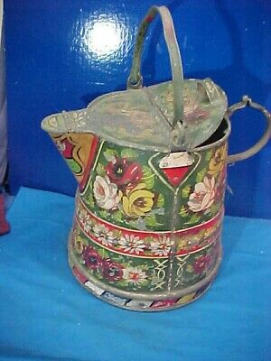19thc PRIMITIVE Tin LARGE PITCHER w Orig HAND PAINTED Toleware FLOWERS etc