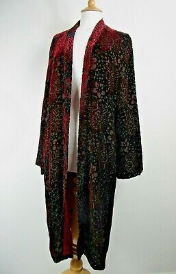 Vintage East Dark Red Silk Blend Velvet Devore Jacket UK Size 14