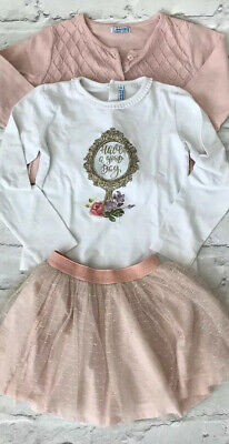 *Mayoral Chic* Have A Good Day Top Skirt Cardigan Bundle Set (6 Years)