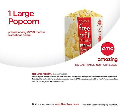 AMC Theatres One LARGE Popcorn and One LARGE Drink exp. 6/30/20 Quick delivery
