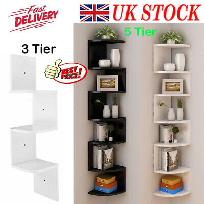 2-5 Tier Floating Wall Shelves Corner Shelf Storage Display Bookcase Bedroom UK