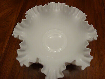 Vintage Fluted Fenton Hobnail White Milk Glass Bowl Ruffled Rim