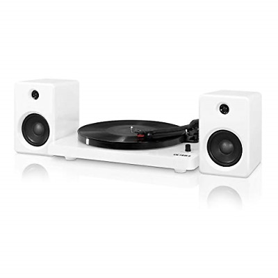 Bluetooth Turntable 50 Watt Speakers White Piano Finish Home Audio Electronics