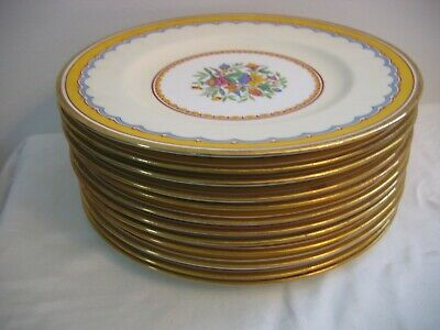Antique MINTON'S for TIFFANY 12 Dinner Plates Raised Flowers Gold Rims