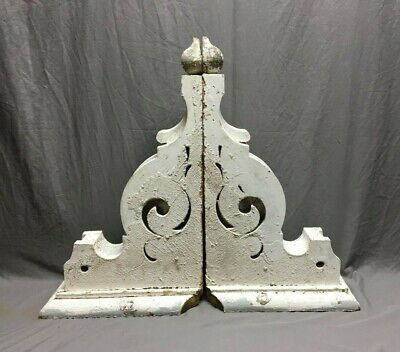Pair Antique Roof Corbels Shelf Brackets 16x24 Shabby Vintage Chic  277-19J