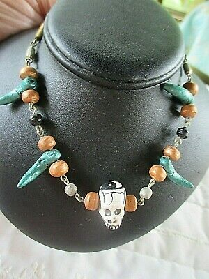 "Day Of The Dead Hand Crafted Skull Necklace 19"" Made In Mexico"