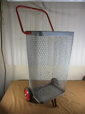 Vintage Metal Rolling Market Grocery Shopping Basket Cart Caddy & Folding Handle