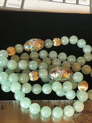 """Chinese Jade Enamel Cloisonné 10mm Bead Necklace 33"""" 115 Grams"""