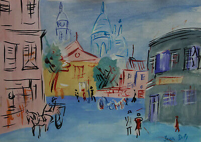 Fine French Fauvism, original landscape painting, Signed, Marked Dufy