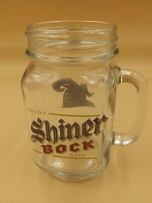 Shiner Bock Mason jar Style Pint Beer Glass Jar Texas Commerical Brewery pub