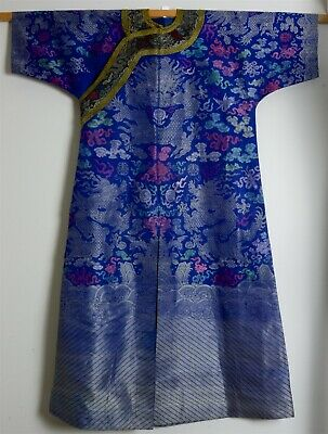 Nice Old Chinese Imperial Five Claw Dragon Blue Kesi Silk Robe