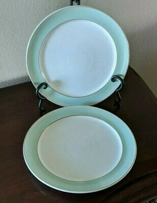 Denby Pure Green Salad Plates 9.75 in Set Of 2 England