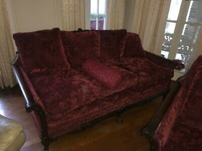 Mahogany hand carved beautiful antique 3 piece living room set, Burgundy upholst