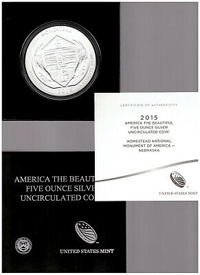 US MINT 2015 America The Beautiful HOMESTEAD NATIONAL PARK 5 oz SILVER COIN +BOX
