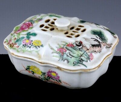 Superbly Detailed Chinese Famille Rose Crane Landscape Pierced Soap Censer Jar