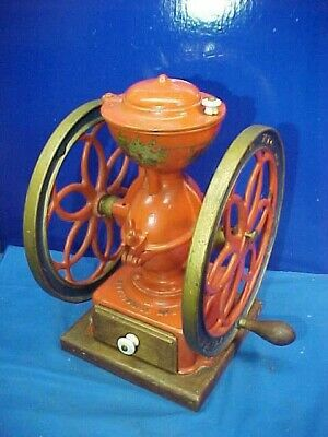 "1870s ENTERPRISE Counter Top DOUBLE 11"" WHEEL COFFEE GRINDER"