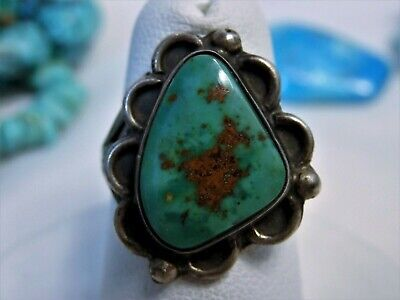 Old NAVAJO Natural ROYSTON TURQUOISE STERLING Silver Squash Blossom RING sz6 🌸