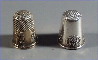 2 Victorian Sewing Thimbles, 1 Silver Floral And 1 Gold Repeat Swirl Pattern