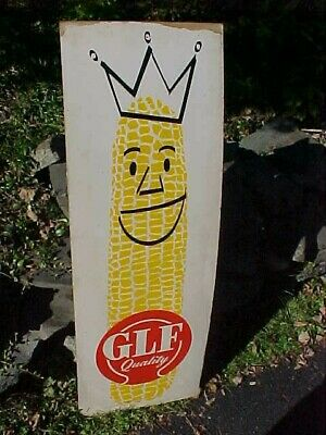 1950s GLF Brand KING CORN SEED Country STORE Advertising SIGN 44 x 15