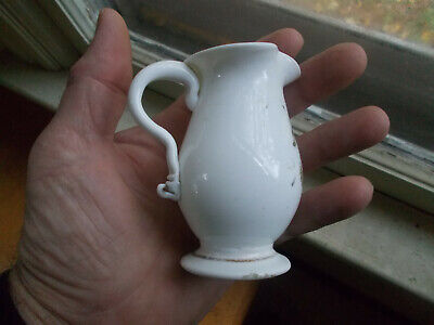 1830s PONTILED WHITE MILKGLASS BLOWN CREAMER CRUDE APPLIED HANDLE DR.APRILL COLL