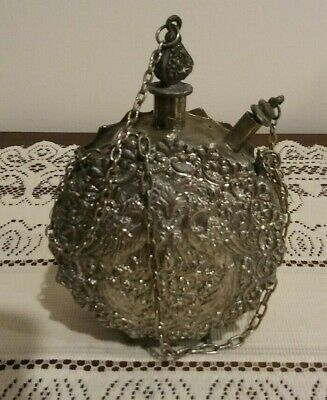 Vintage Ornate-Silver Colored Footed Flask/Bottle with Birds-2 Stoppers & Chains