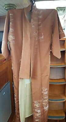 Fab Bronze / Brown Home Patterned Vintage Japanese Full Length Kimono