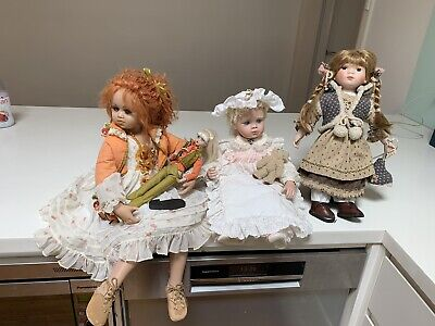 3 Collector Porcelain Dolls Jan McLean Designs RRP$300