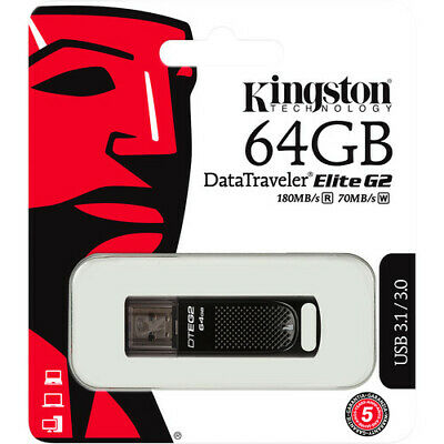 Kingston 64GB NEW Digital DataTraveler Elite G2 USB3.1 Flash Drive with Tracking