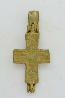 Byzantine bronze encolpion cross Virgin Mary & crucified Jesus  6 century AD